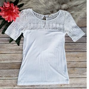 J. Crew Cotton Blend and Lace Top - Size XSmall